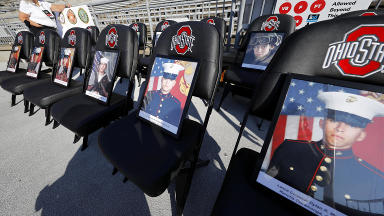 Honorary seats for veterans on the 20th anniversary of 9/11 attacks before the game between the Ohio State Buckeyes and the Oregon Ducks at Ohio Stadium. (Joseph Maiorana-USA TODAY Sports)