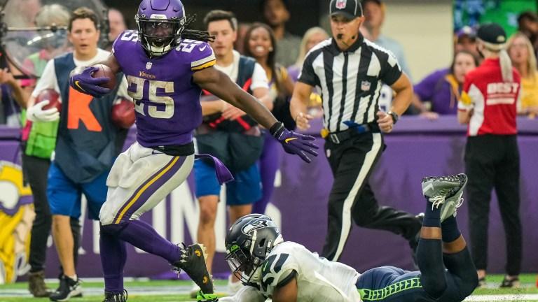 Minnesota Vikings running back Alexander Mattison carries the ball during the fourth quarter against Seattle Seahawks at U.S. Bank Stadium.