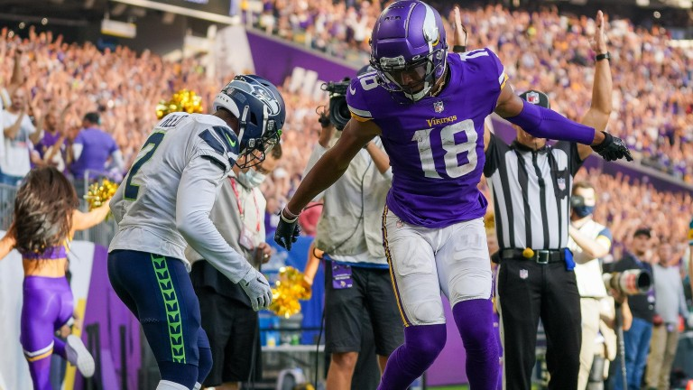Minnesota Vikings wide receiver Justin Jefferson celebrates his touchdown against the Seattle Seahawks in the second quarter at U.S. Bank Stadium.
